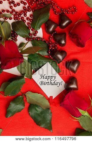 Tag Happy Birthday With Red Roses And Candies