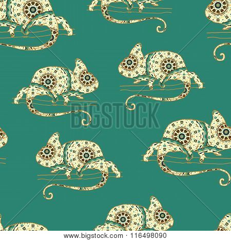 Seamless pattern with chameleon