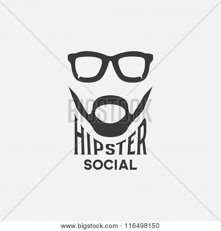 Hipster Social Concept Vector Design Template