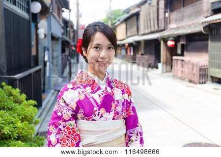 Japanese woman wearing traditional kimono