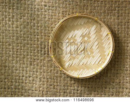 mini bamboo tray on burlap