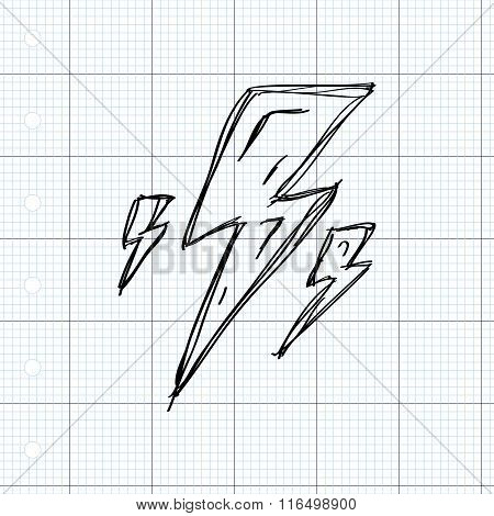 Simple Doodle Of A Lightning Bolt
