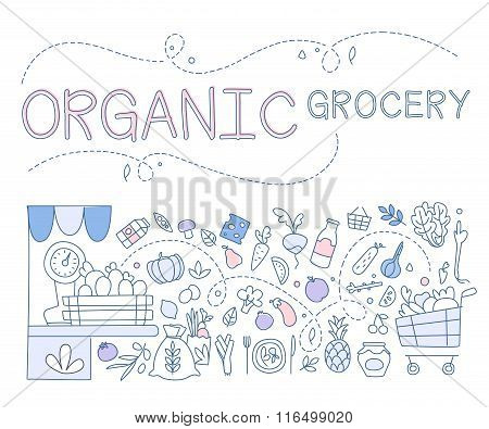 Templates for design of organic grocery store with hand drawn linear vegetables