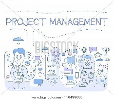 Doodle style concept of project management. Modern line illustration for web banners, hero images, p