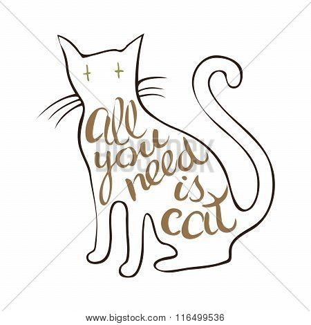 Humorous Hand Drawn Design With Cat And Lettering