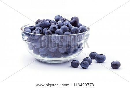 ripe blueberries in bowl isolated on white