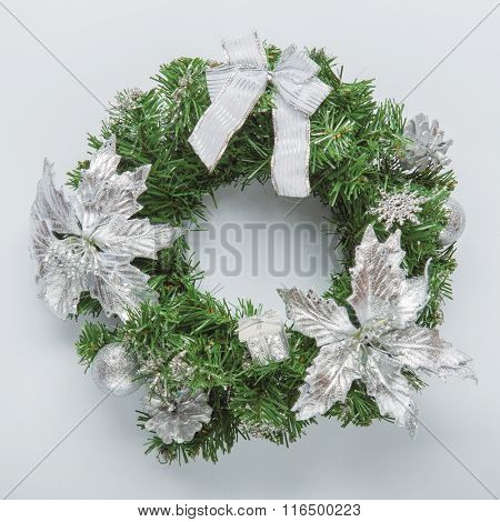 Christmas blue wreath on white