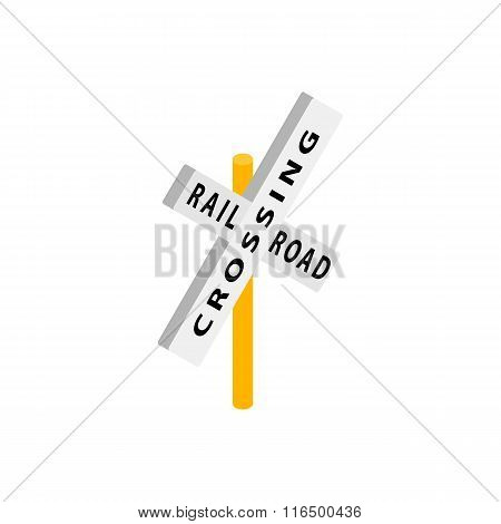 Train crossing road isometric icon