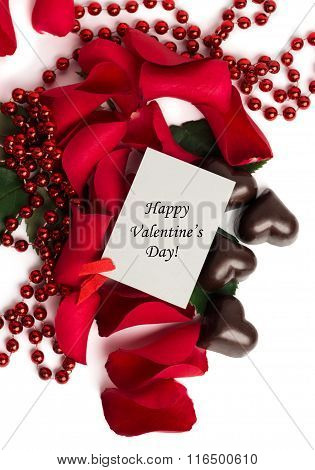 Tag Happy Valentine's Day With Red Rose Petals And Candies