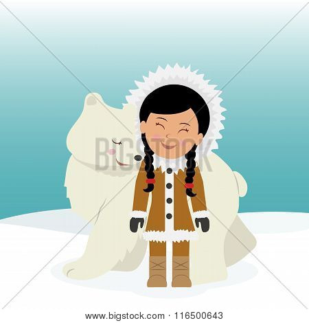 Eskimo girl hugging polar bear. The friendship between the Eskimos and polar bear. Concept backgroun
