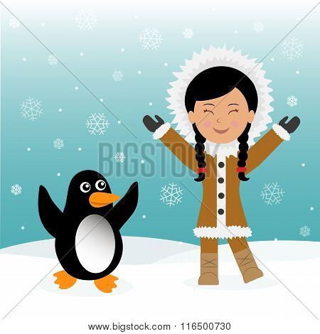 Funny dancing Eskimos and penguins. Concept background trip to Greenland