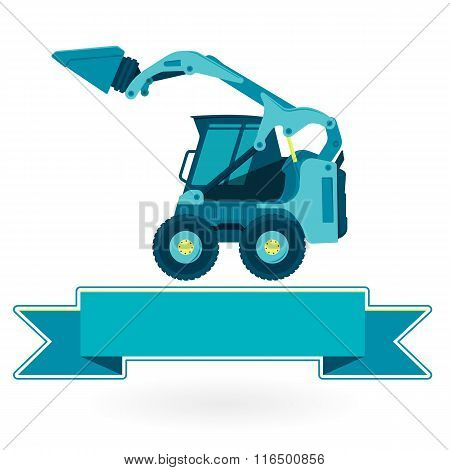 Blue small digger builds roads, loads building material on white.