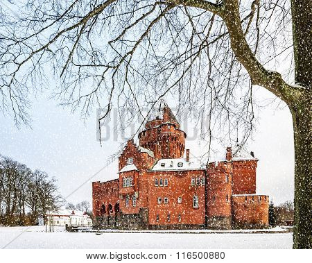 Hjularod Castle In The Snow