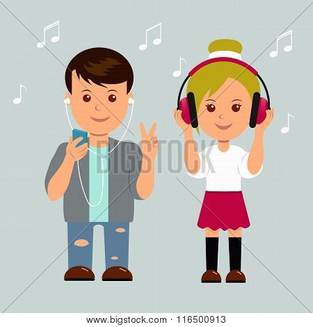 New generation. Boy and girl in headphones. Isolated teens music lovers