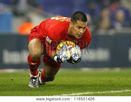 BARCELONA - JAN, 23: Alphonse Areola of Villareal CF during a Spanish League match against RCD Espanyol at the Estadi Cornella on January 23, 2016 in Barcelona, Spain