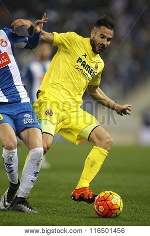 BARCELONA - JAN, 23: Mario Gaspar of Villareal CF during a Spanish League match against RCD Espanyol at the Estadi Cornella on January 23, 2016 in Barcelona, Spain