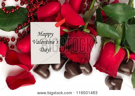 Tag Happy Valentine's Day With Red Rose Petals, Red Roses