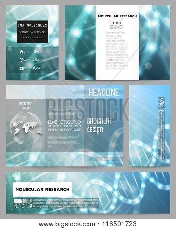 Set of business templates for presentation, brochure, flyer or booklet. DNA molecule structure on da