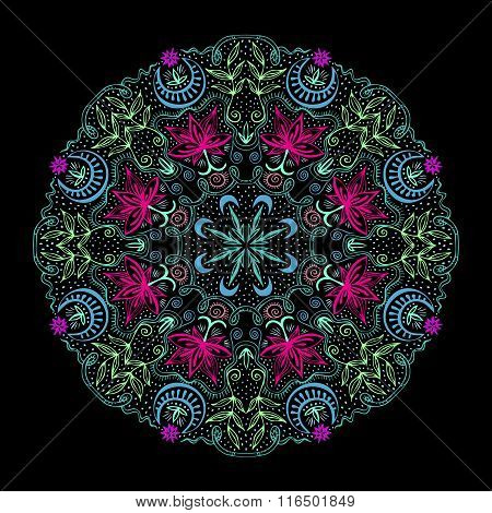 Colorful Round Tantric Mandala At Black