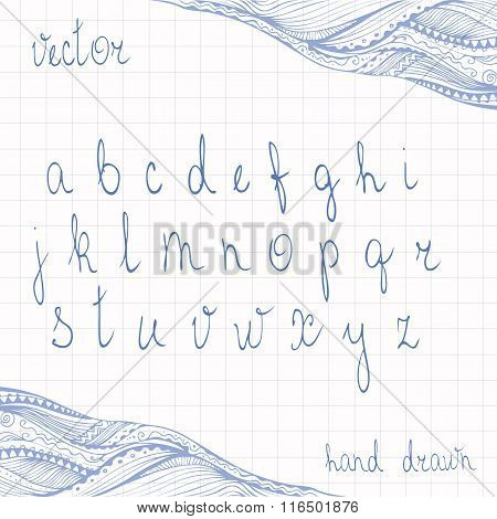 Hand Drawn Cursive Alphabet