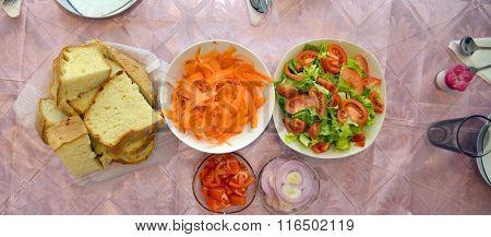 Fresh Vegetable Salad Served