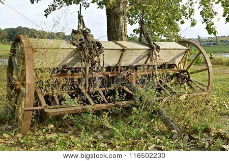 Neglected old seed drill