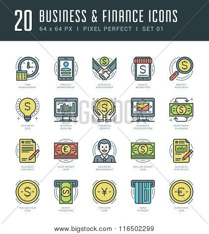 Flat line icons set. Trendy Modern thin linear stroke vector Business and Finance concept