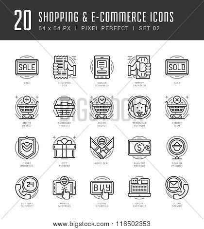 Flat line icons set. Trendy Modern thin linear stroke vector Shopping and E-Commerce concept