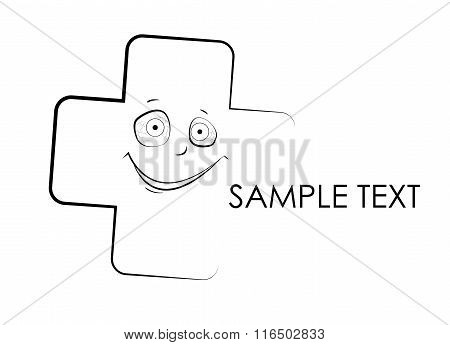 Medical Cross With Mad Face. Vector Illustration