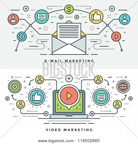 Flat  E-mail and Video Marketing Concept Vector illustration