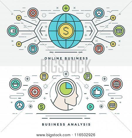 Flat line Online Business Analysis Concept Vector illustration