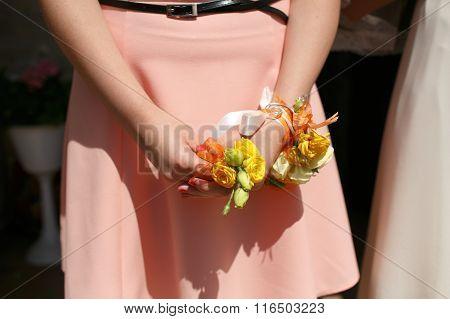 Gorgeous Stylish Elegant Bridesmaid Holding Colorful Boutonniere