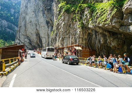 Tourists Visit The Bicaz Canyon