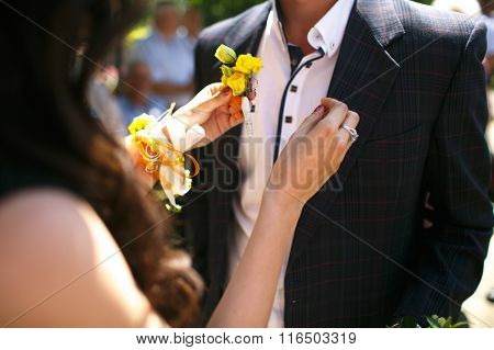 Gorgeous Stylish Elegant Bridesmaid Putting On Colorful Boutonniere On Best Man