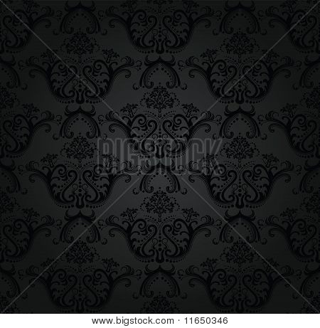 Charcoal Floral Seamless Wallpaper.eps