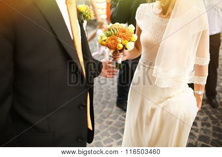 Gorgeous Romantic Happy Bride And Groom And Bridesmaids And Groomsman  Celebrating Marriage On The B
