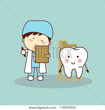 Cartoon Dentist Measuring Tooth Height