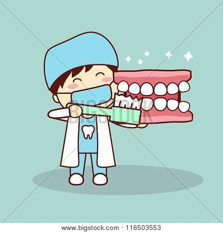 Happy Cartoon Denture And Dentist