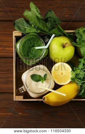 beverage with spinach, celery and pumpkin seeds and banana smoothie, detox and healthy food