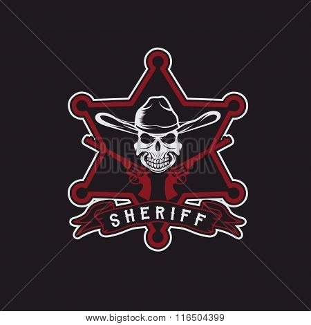 Star Of Sheriff With Skull In Hat And Guns