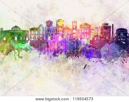 Thessaloniki Skyline In Watercolor Background