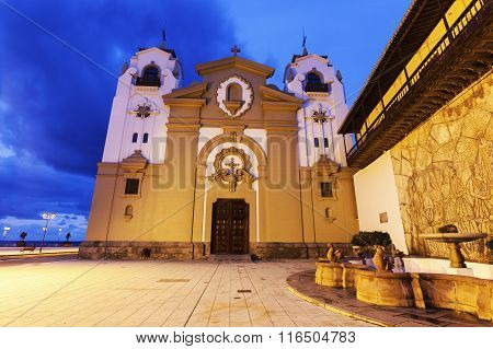 Candelaria Church at night. Candelaria Santa Cruz de Tenerife Tenerife Canary Islands Spain.