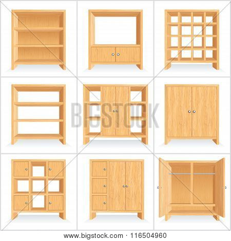 Vector Wooden Wardrobe, Cabinet, Bookshelf