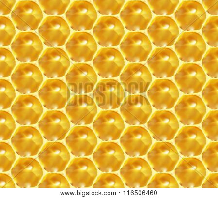 Seamless pattern - unfinished honey in honeycombs. Vector Eps 8 using mesh.