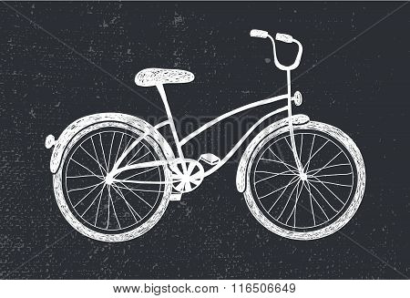 Vector hand drawn doodle bicycle. White illustration on blackboard