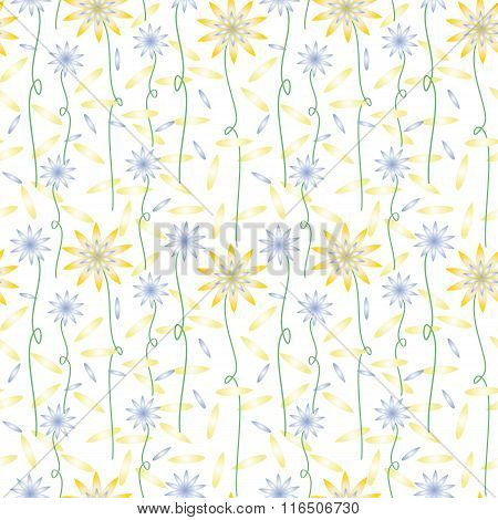 Pattern of yellow and blue flowers