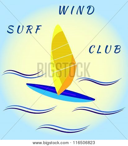 Windsurfing board and waves