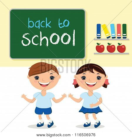 Illustration Kids In School Class,with School Board. With Text Back To School.