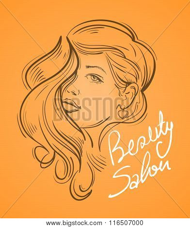 beautiful young woman with long hair. vector illustration
