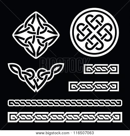 Celtic Irish patterns and braids - vector, St Patrick's Day on black